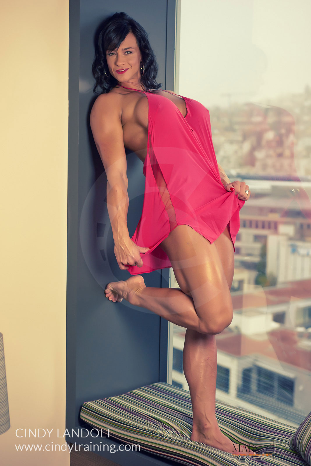 Cindy Landolt Red Body Builders Pics With White
